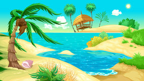 Vista na praia ilustração do vetor