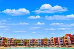 Vista na praia da lagoa em Arábia Azur Resort Imagem de Stock