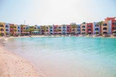 Vista na praia da lagoa em Arábia Azur Resort Fotografia de Stock