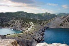 Vista na praia de Tzar imagens de stock