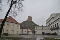 Vista na torre de Gediminas no dia de inverno nevoento imagens de stock royalty free