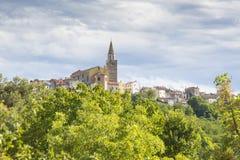 Vista na vila medieval Buje na Croácia Imagem de Stock
