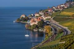 Vista na vila Rivaz, em terraços do vinhedo e em lago geneva Fotografia de Stock Royalty Free