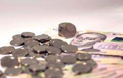 Vista nas moedas de um centavo, que mentira uma em uma Ucraniano Hryvnia Dinheiro de Ucrânia imagens de stock