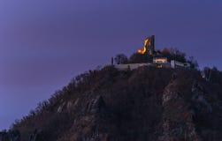 Vista nas ruínas de Drachenfels Fotos de Stock Royalty Free