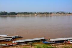 Vista natural do rio de Khong em Chaingkhan Fotografia de Stock