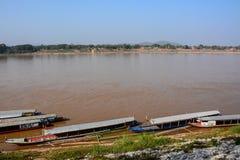 Vista naturale del fiume di Khong in Chaingkhan Immagine Stock Libera da Diritti