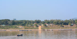 Vista naturale del fiume di Khong in Chaingkhan Fotografia Stock Libera da Diritti