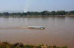 Vista naturale del fiume di Khong in Chaingkhan Fotografia Stock