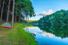 Vista naturale del paesaggio del bacino idrico di Huai Makhuea Som Immagine Stock Libera da Diritti