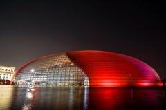Vista nazionale di notte del grande teatro della Cina Immagini Stock