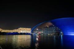 Vista nazionale di notte del grande teatro della Cina Fotografia Stock
