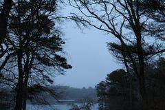 Vista nebbiosa del lago Fotografia Stock Libera da Diritti