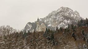 Vista nebbiosa di inverno del castello di Schloss il Neuschwanstein in Baviera della Germania Immagine Stock Libera da Diritti