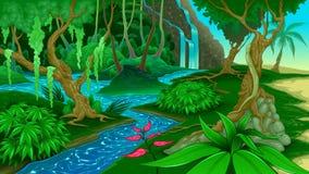Vista nella giungla illustrazione di stock