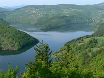 Vista nella montagna di Rhodope, Bulgaria Immagini Stock