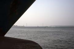 Vista nevoenta do porto de Fredericia em Dinamarca imagens de stock royalty free