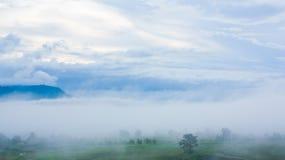 Vista nevoenta na montanha Foto de Stock Royalty Free