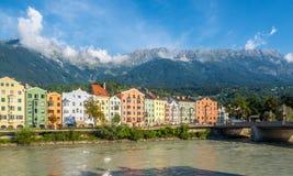 Vista no banco da pensão em Innsbruck - Áustria Imagens de Stock Royalty Free
