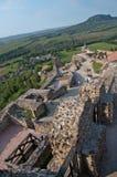 Vista no castelo de Szigliget com fundo do panorama Imagem de Stock