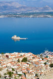 Vista no castelo do bourtzi no nafplion greece Imagem de Stock Royalty Free