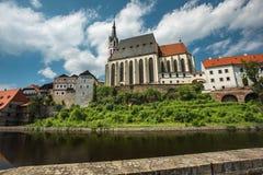 Vista no centro histórico de Cesky Krumlov europa Foto de Stock