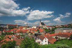 Vista no centro histórico de Cesky Krumlov europa Fotos de Stock