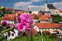Vista no centro histórico de Cesky Krumlov europa Fotografia de Stock Royalty Free