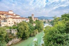 Vista no Cividale del Friuli com rio Imagem de Stock Royalty Free
