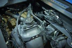 Vista no equipamento diferente do chassi do caminhão do frete e em vários detalhes das peças Chassi do caminhão com equipamento d imagens de stock royalty free