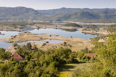 Vista no lago Slano - Montenegro Fotos de Stock