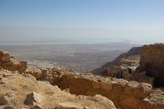 Vista no mar inoperante da fortaleza de Masada Fotografia de Stock
