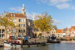 Vista no Marnixkade, Maassluis, os Países Baixos imagem de stock