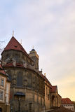 Vista no obere Pfarrkirche em Bamberga, Baviera, Alemanha, no por do sol A Senhora assim chamada de Kirche Unsere Liebe da igreja Fotos de Stock