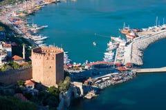 Vista no porto de Alanya Imagem de Stock