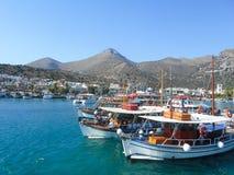 Vista no porto Heraklion na ilha da Creta fotos de stock royalty free