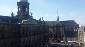 Vista no quadrado da represa em Amsterdão Imagem de Stock Royalty Free
