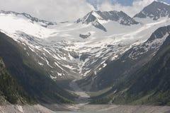 Vista no Schlegeis Kees em Áustria fotografia de stock