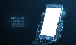 Vista no teclado e na tela Telefone celular poligonal abstrato do close up do wireframe com a tela vazia branca vazia em guardar  ilustração stock