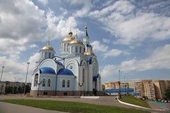 Vista no templo do ícone de Kazan da mãe do deus em Saransk, Repulic Mordóvia imagens de stock royalty free