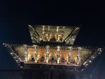 Vista nocturna del templo en Patan imágenes de archivo libres de regalías