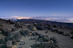 Vista nocturna del volcán Pico del Teide en Tenerife fotos de archivo libres de regalías