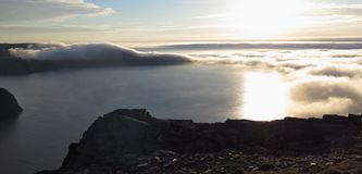Vista nordica nebbiosa da Nordkapp Immagine Stock
