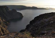 Vista nordica nebbiosa da Nordkapp Immagini Stock