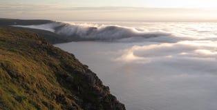 Vista nordica nebbiosa da Nordkapp Fotografia Stock Libera da Diritti