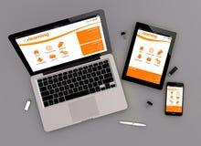 Vista online di zenit della piattaforma di istruzione di progettazione rispondente Immagini Stock