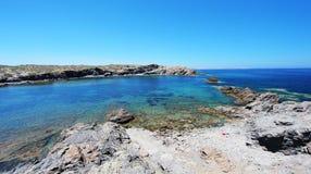 Vista orientale della spiaggia di Favaritx, uno di punti più bei in Menorca, le Isole Baleari, Spagna Fotografia Stock