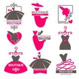 Vista os ícones do vetor do salão de beleza da oficina do boutique ou da forma ajustados ilustração royalty free
