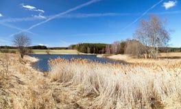 Vista outonal da lagoa, das montanhas do Bohemian e do Moravian imagem de stock royalty free