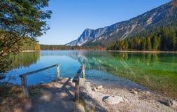 Vista outonal do lago Tovel, Val di Non dentro do parque natural de Adamello-Brenta, Trentino Alto-Adige, Itália imagem de stock royalty free